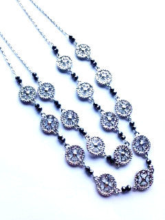Double strand silver disc and gunmetal necklace