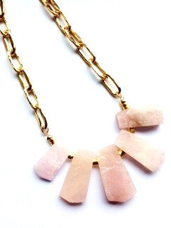 Rose quartz fan necklace