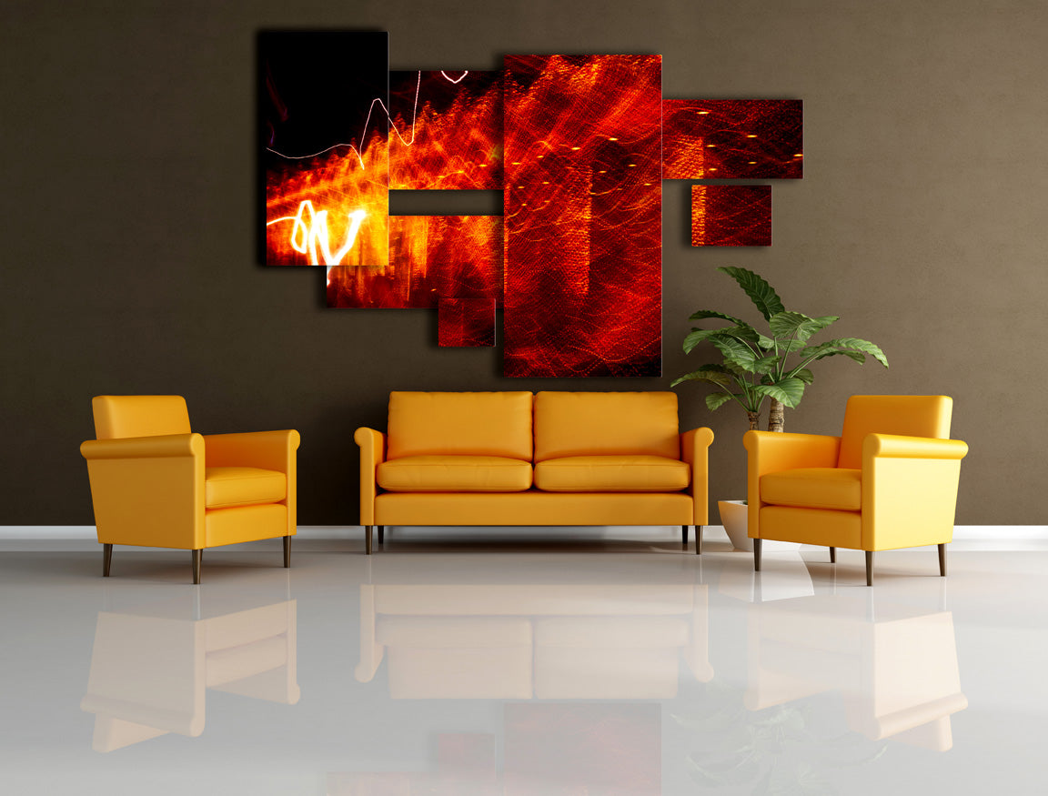 orange abstract wall design on brown wall with yellow sofa set