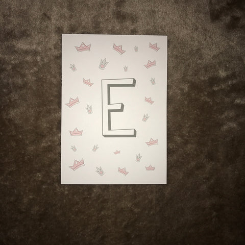 Grey letter with pink crowns (A-Z, &)