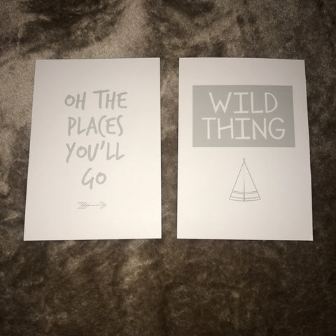 Oh the places you'll go, Wild thing - Set of 2
