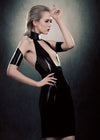 Latex Elektra dress with Snakeskin embossed latex collar.