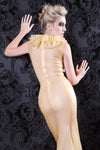 Latex Art Deco floor length gown.