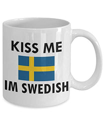 Kiss Me I'm Swedish Sweden Coffee Tea Cocoa Funny Mug
