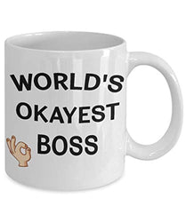 World's Okayest Boss Funny Ceramic Coffee Tea Mug