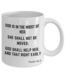 Psalm 46:5 Bible Verse Quote Saying Passage Ceramic Coffee Tea Mug God Is In The Midst Of Her