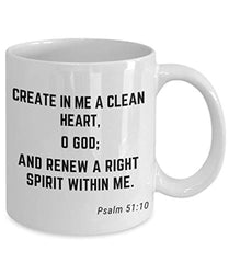 Psalm 51:10 Bible Verse Quote Saying Passage Ceramic Coffee Tea Mug Create In Me A Clean Heart O God