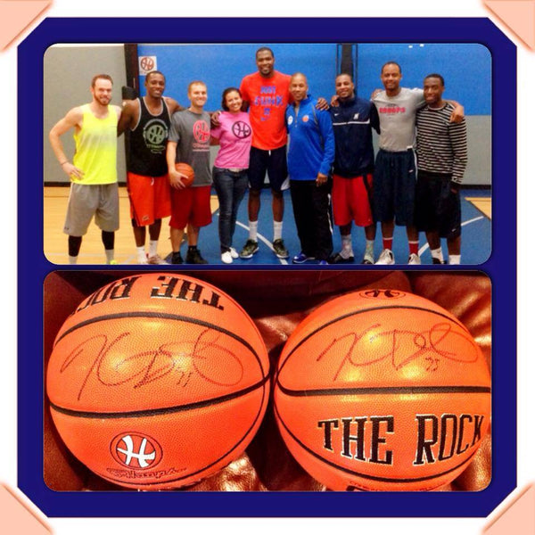 Kevin Durant and the OHoops team. Those signed balls better be in a glass case somewhere!