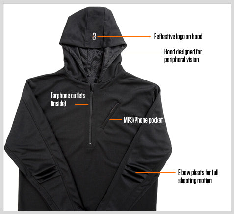 Hoodie picture that shows features of the hoodie