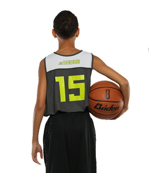 Reversible LT Unisex Lightweight Basketball Jersey - Black/White - Back of Jersey On Model