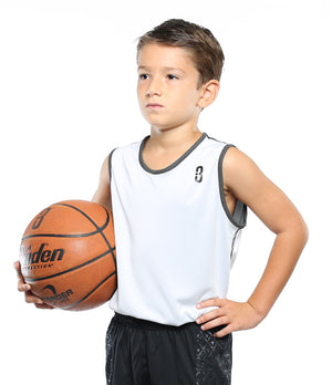 Reversible LT Youth Unisex Lightweight Basketball Jersey - showing white side on model