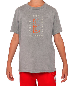 Youth Built For Basketball Graphic T-Shirt - Grey