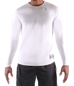 Fadeaway Long Sleeve Shooting Shirt - White