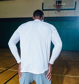 Fadeaway Long Sleeve Shooting Shirt White - Back Detail