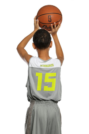 Reversible LT Unisex Lightweight Basketball Jersey - Grey/White - On Model from Back
