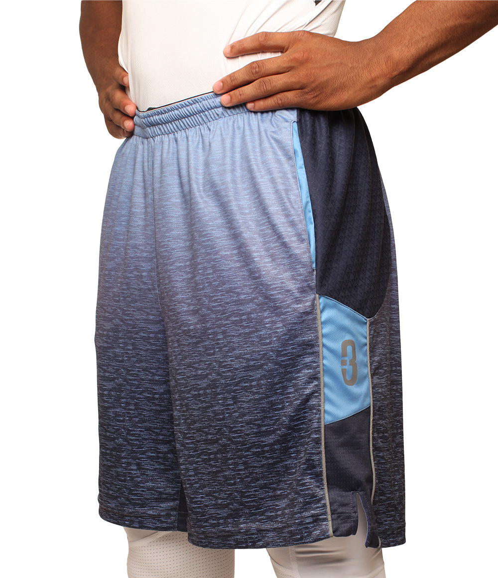 aac87c6c7a8f2 Faded Blue Ombre DRYV Baller 3.0 Mens Dry Hand Zone Basketball Shorts Front