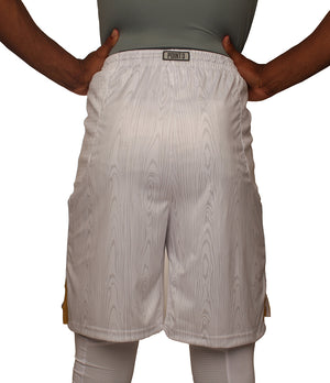 The Chip/White Wood DRYV Baller 3.0 Mens Dry Hand Zone Basketball Shorts - Back