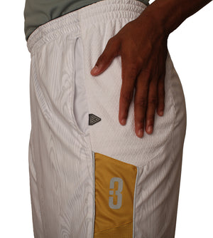 The Chip/White Wood DRYV Baller 3.0 Mens Dry Hand Zone Basketball Shorts - Side Hand Wipe