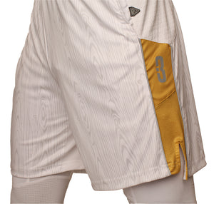 The Chip/White Wood DRYV Baller 3.0 Mens Dry Hand Zone Basketball Shorts - Side