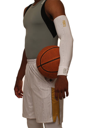 The Chip/White Wood DRYV Baller 3.0 Mens Dry Hand Zone Basketball Shorts - With Sleeve