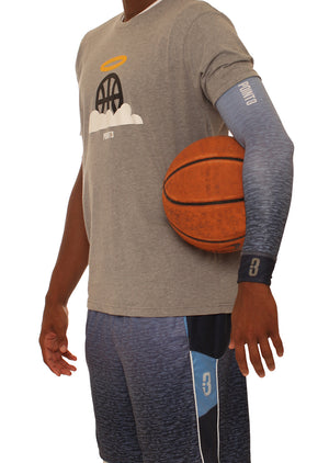 Faded/Blue Ombre Shooter LT Lightweight Compression Shooting Sleeve Holding Basketball