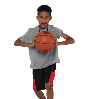 Youth DRYV Baller 2.0 Basketball Shorts - Black/Black/Red - Action