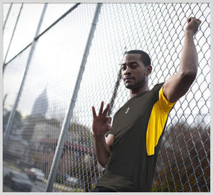 ISO - Short Sleeve Compression T-Shirt - grey/yellow - throwin 3 on the fence
