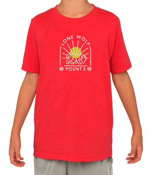 Youth Lone Wolf Graphic T-Shirt - Red
