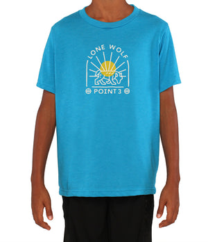 Youth Lone Wolf Graphic T-Shirt - Light Blue