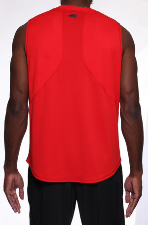 OT Sleeveless Workout Top - Red - Back View