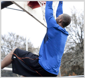 SHOOTAROUND - Long Sleeve Shooting Shirt Royal/Navy Blue - outdoor dunk