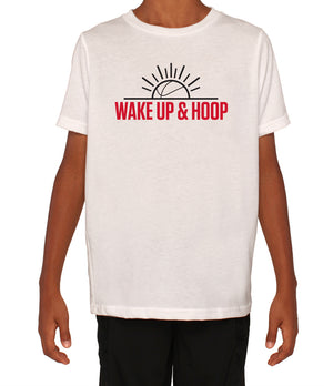 Youth Wake Up & Hoop T-Shirt - White