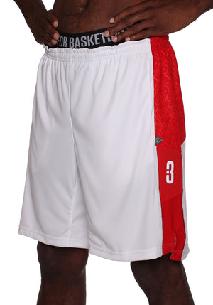 Baller 3.0 Mens Dry Hand Zone Basketball Shorts - White/Red