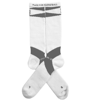 X-Wrap Basketball Socks Mid White/Grey - pair