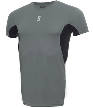 YOUTH ISO - Short Sleeve Compression T-Shirt Grey/Black