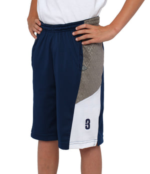 Youth DRYV Baller 2.0 Basketball Shorts - Navy/Grey/White - Side