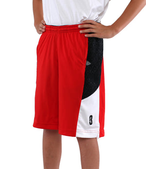 Youth DRYV Baller 2.0 Basketball Shorts - Red/Black/White - Side