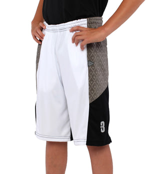 Youth DRYV Baller 2.0 Basketball Shorts - White/Grey/Black - Side