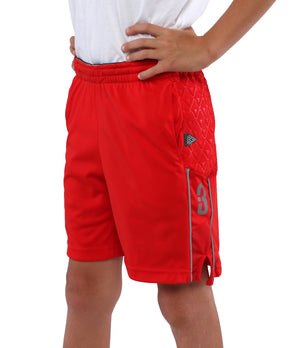 Youth DRYV Baller 3.0 Basketball Shorts - Red - Front