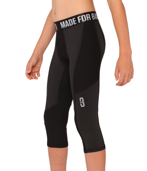 Youth Triple Threat 3/4 Compression Tights - Black