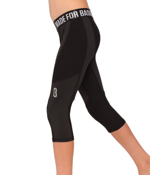 Youth Triple Threat 3/4 Compression Tights - Black - Side
