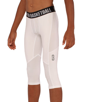 Youth Triple Threat 3/4 Compression Tights - White