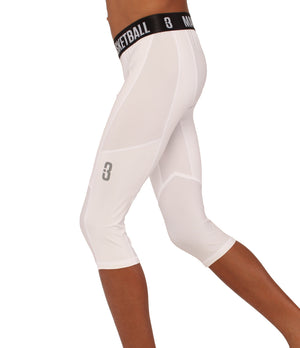 Youth Triple Threat 3/4 Compression Tights - White - Side
