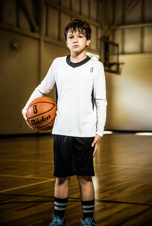 YOUTH SHOOTAROUND - Long Sleeve Shooting Shirt White/Grey - free-throw line