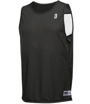 Reversible LT Unisex Lightweight Basketball Jersey Black/White Front