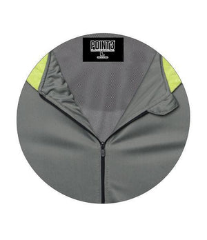 DRYV Unisex Basketball Warm-Up Hoodie 2.0 - Grey/Green Flash Front Zipper