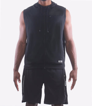 All Day Sleeveless Hoodie - Black/Front