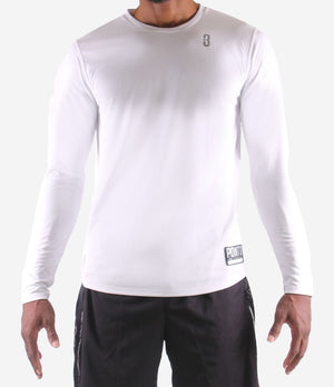 Youth Fadeaway Long Sleeve Shooting Shirt - White