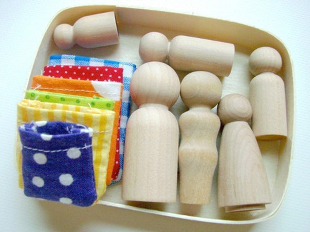 Family Box - Handmade Wooden Little People Playset