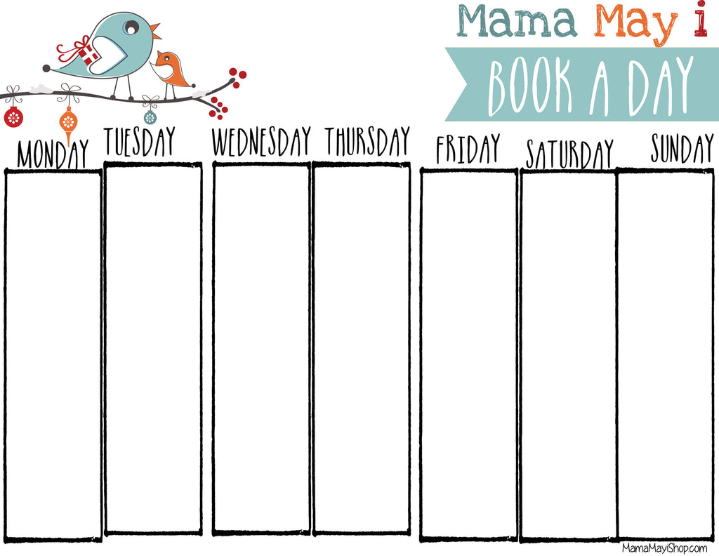 Free Mama May I Book A Day Holiday Countdown Blank Calendar